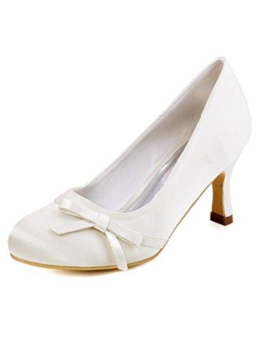 Scarpeleganti Donna ivory Con Sposa A0756 Elegantpark Scarpe Tacco Da Bianco xqpBBY