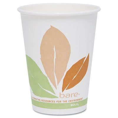 ** Bare PLA Hot Cups, White w/Leaf Design, 12 oz., 300/Carton ** by 4COU