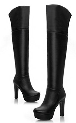 Trendy Platform Knee Boot - IDIFU Women's Sexy Platform Chunky Thigh Over Knee High Boots Black 8 B(M) US
