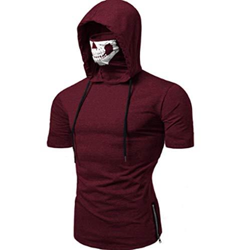 Men's Fashion Skull Mask Pattern Long Sleeve Hooded Sweatshirt Training Pullover Sweatshir (M, Wine Red 3) -