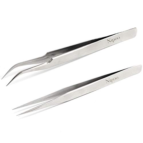 Best Tweezers for Eyelash Extension - Straight and Curved Pointed Tweezers - Professional Stainless Steel Precision Tweezers set - 2 Pcs - Silver - by Nipoo by Nipoo