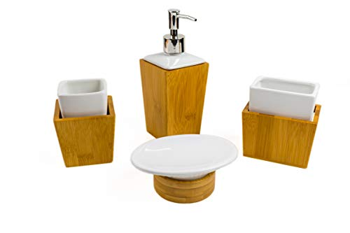 Bamboo Bathroom Accessories Set - Wood Bathroom Set Complete with Soap Dispenser, Toothbrush Holder, Soap Holder, Mug - Bamboo Wood Bathroom Modern Vanity Set (Vanity Set Ceramic Wooden)