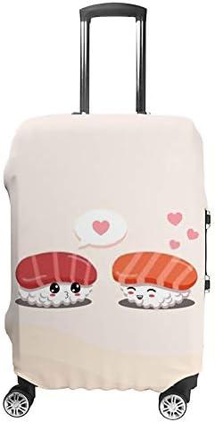 スーツケースカバー 伸縮素材 トランク カバー 洗える 汚れ防止 キズ保護 盗難防止 キャリーカバー おしゃれ 可愛い 寿司柄 ポリエステル 海外旅行 見つけやすい 着脱簡単 1枚入り