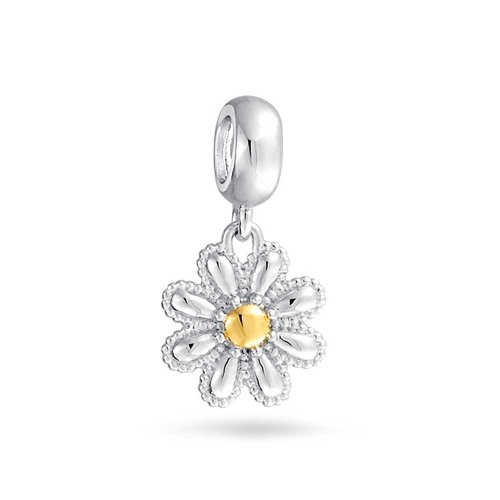 Daisy Flower Dangle Bead Charm For Women Mother Two Tone 14K Gold Plated 925 Sterling Silver Fits European Bracelet
