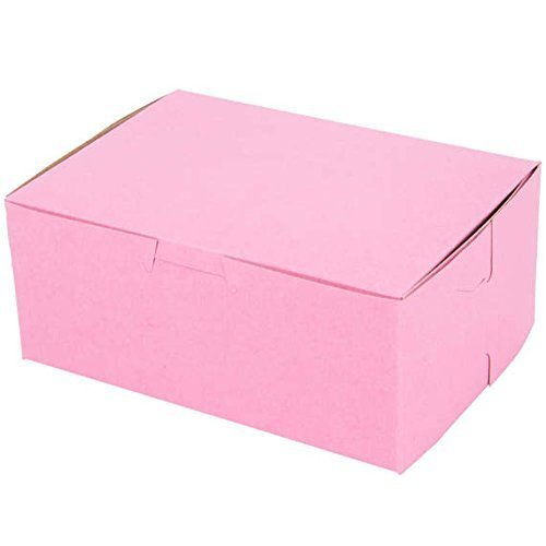 Pink Disposable paperboard Cake Box - 7 x 5 x 3 inch; Bakery Boxes for Gift Packaging, With Side locking Tabs-Made in USA (Pack of 25)