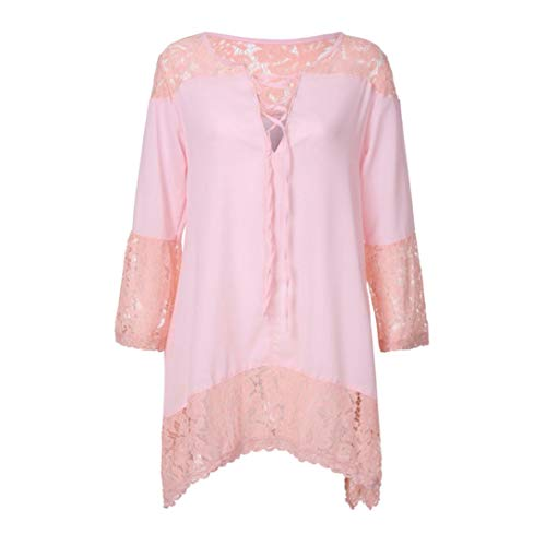 Femme Rose DAYLIN Solid Manches V Courtes Col Dcontract Top Chemisier qwzSxqa8O