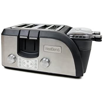 West Bend Toaster Oven Breakfast Station, Egg and Muffin Sandwich Maker, Silver/Black - TEMPR100