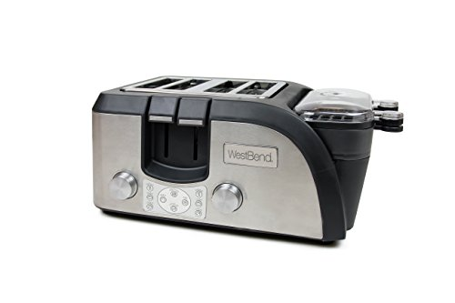 West Bend Toaster Oven Breakfast Station, Egg and Muffin Sandwich Maker, Silver/Black - TEMPR100 image