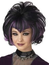 dolly2u WIG GOTH FLIP BLACK PURPLE (Flapper Makeup Kit)