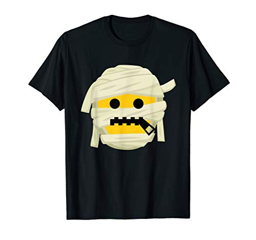 Zipper Mouth Costume (Mummy Emoji T-Shirt Zipper Mouth Halloween Costume Gift)