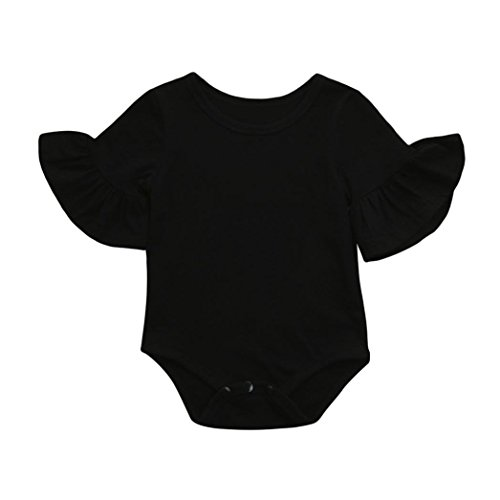 0-24 Months Newborn Infant Baby Girls Romper, Ruffles Bell Sleeve Solid Jumpsuit Playsuit Sleepwear Clothes Outfits (Black, 18-24 Months)