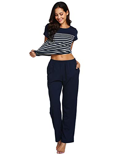 Ekouaer Women's O-Neck Pajama Set Short Sleeve Top and Striped Pants 2 Piece Pj Loungewear with Pocket(Navy Blue, XXL) (Women Navy Striped Pj)