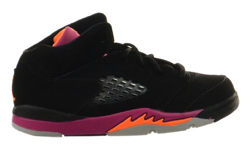 Jordan 5 Retro (TD) Baby Toddlers Basketball Shoes Black/Bright Citrus-Fusion Pink ()
