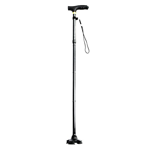 MKChung Outdoor Telescopic Crutch Adjustable Folding Walking Canes Aluminium Alloy Elderly and Disabled Rescue Walking Stick Cane 4-Feet Crutch with LED Light