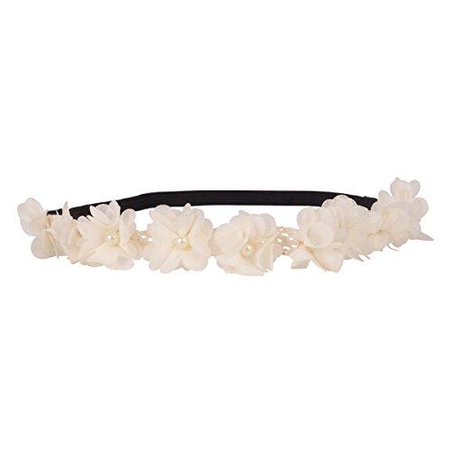 Headband blanc fleurs et dentelle - Headband Mariage - Headband Fleurs - Bandeau Cheveux