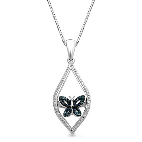 Jewelili Sterling Silver Blue and White Diamond Accent Butterfly Pendant Necklace, 18