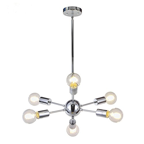 Modern Sputnik Chandelier Lighting 6 Lights Italian Designed Pendant Lighting Mid-Century Ceiling Light Fixture Chrome by TUDOLIGHT