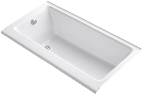 KOHLER K-877-S-0 Highbridge Cast Iron Bath with Enameled Apron and Left-Hand Drain, White