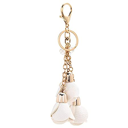 bianco Lubier Ciondolo decorativo pendente in ciondolo portachiavi con nappina in ecopelle