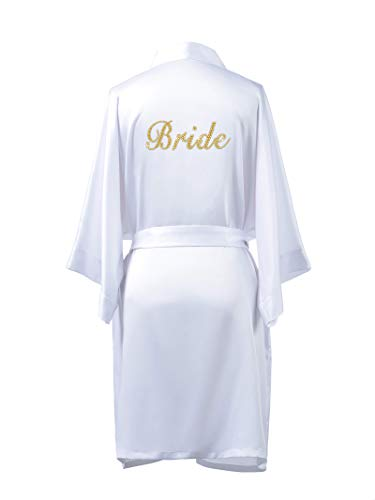 SIORO Womens Satin Robes for Bride, Personalized Wedding Party Personalized Silk Bathrobe with Gold Rhinestone,White L ()