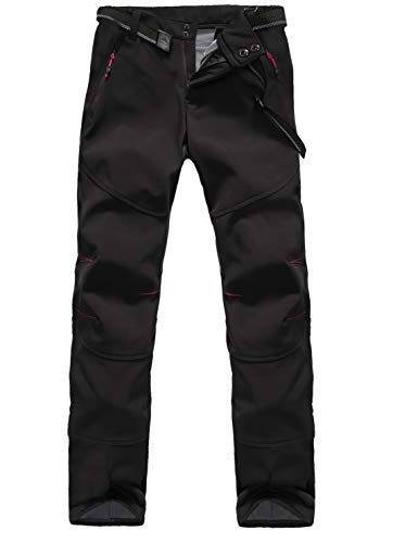 JOMLUN Men's Outdoor Waterproof Skiing Climbing Hiking Soft Shell Warm Fleece Pants (XL, Women Pants ()