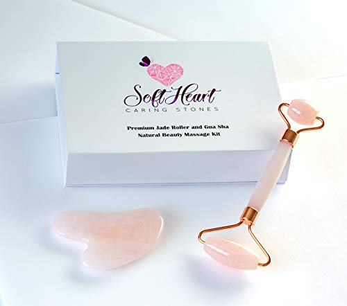 Premium Quality Rose Quartz Facial Massage Roller Set of 2 with Rose Quartz Gua Sha scraper stone 100% Natural pink Jade Hand Made Anti-Aging ancient Chinese tool for Face and body. 2019 special editi (Best Anti Aging Kit 2019)