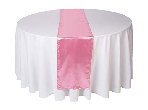 OWS Pack Of 10 Wedding 12 x 108 inch Satin Table Runner Wedding Banquet Decoration-Pink