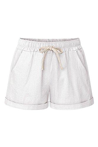 E Beach Donne Occasionale ammanettato White Le Tasche Elastico Con Pantaloncini Zonsaoja Otq5wt