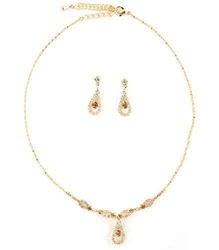 Gold Teardrop Shape Line Necklace with Gold Crystal Inserts & Matching Dangle Earrings Jewelry Set
