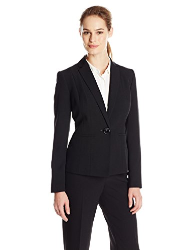 Kasper Women's Stretch Crepe One Button Jacket, Black, 14 (Kasper Black Crepe)
