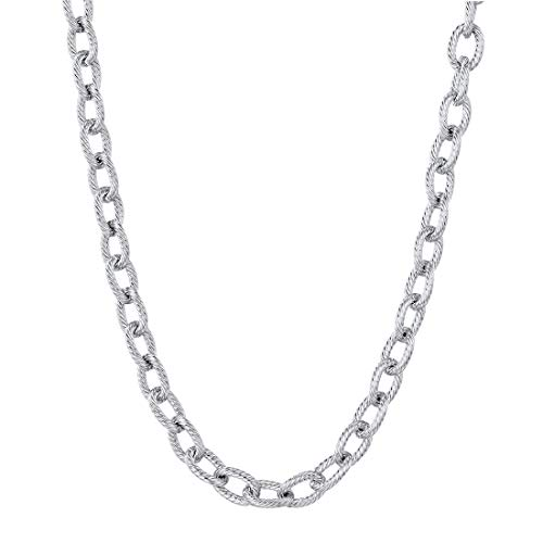 U7 6mm Mens Stainless Steel Circle Link Chain Necklace 18
