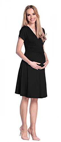 Happy Mama De Las Mujeres Maternidad Jersey Llamarada Bebé Ducha Vestido Corto Mangas 108 Negro