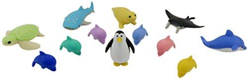 Ocean Adventure Take-Apart Mini Erasers Otter Stingray Dolphin Sea Turtle Whale Shark Penguin (Pack of 12) ()