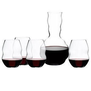 Riedel 5-Piece Swirl Red Wine Glass and Decanter Set by Riedel
