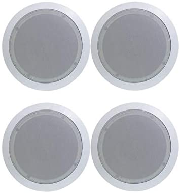 2 NEW Pyle PDIC51RD 5.25 Inch Round White In Ceiling Wall Flush Speakers Pair