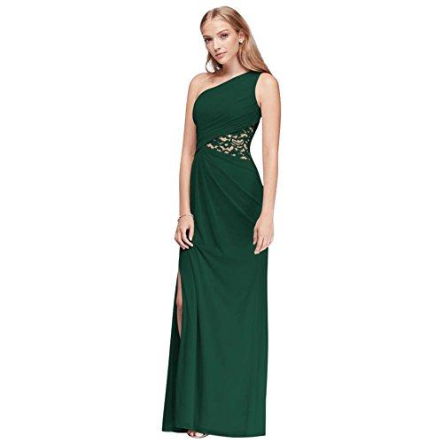 One-Shoulder Mesh Bridesmaid Dress with Lace Inset Style F19419, Juniper, 4 - Juniper Green Apparel