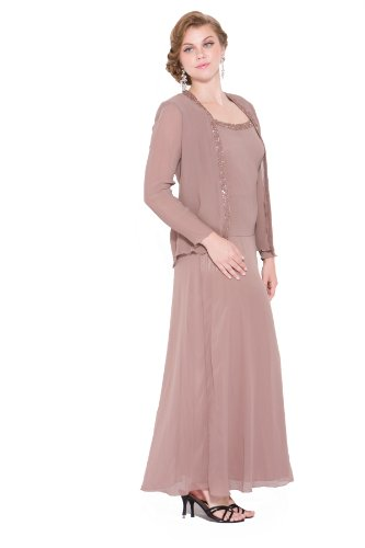 Beaded chiffon mother's gown NX1121-MINK-4X