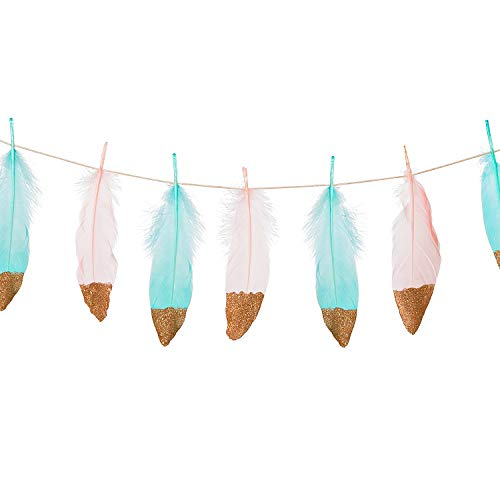 Ling's moment 10FT Feather Garland Rose Gold Glitter Dipped Light Pink and Blue Feather Banner for Boho Wedding/Party/Baby Shower/Nursery Decor, Teepee -