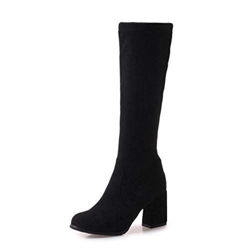 (T-JULY Women Winter Knee High Boots High Heels Long Thick Round Toe Mature Ladies Shoes)