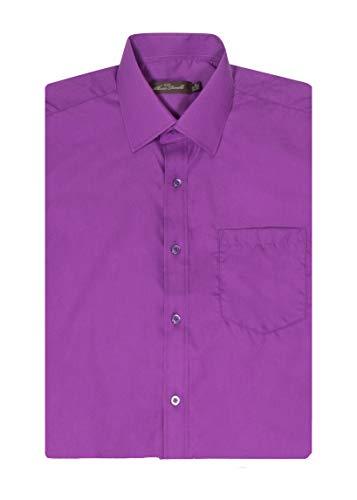 Alberto Danelli Men's Short Sleeve Dress Shirt, Violet, 4X 20-20.5