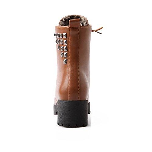 up Solid Toe Women's AgooLar PU Heels Round Yellow Boots Kitten Lace wARqI5C