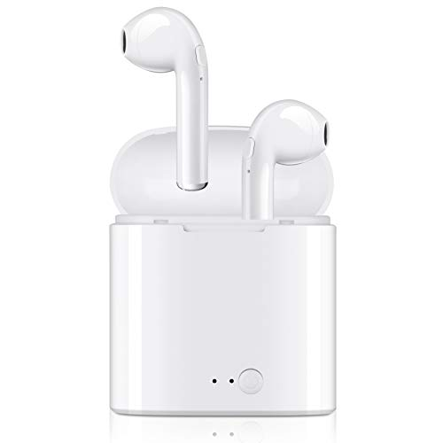 Bluetooth Headphones, Wireless Earphones Stereo in-Ear Earphones with 2 Wireless Headset Built-in Mic Earphones and Charging Case for Most Smartphones - White