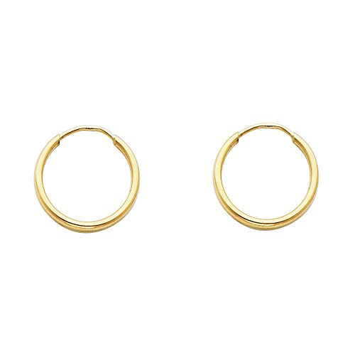 14k Yellow Gold 1.5mm Thickness Endless Hoop Earrings (13 x 13 mm) ()