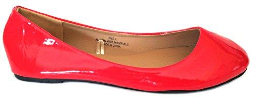 Shoes8teen Shoes 18 Damen Ballerina Ballerinas Flache Schuhe Solids & Leopards ... 1800 Patent rot