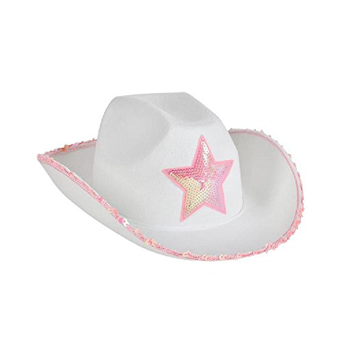 White Felt Cowgirl Hat With Pink Star (With Sticky Notes)