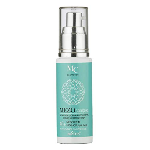 Bielita & Vitex MEZOcomplex Line | Night Face Mezo Nourishing Anti Wrinkle Cream 40+ Intensive Rejuvenation, for All Skin Types, 50 ml | Hyaluronic Acid, Shea Butter, Hazelnut Oil, Arnica Oil