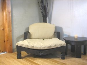 Raja Royal Meditation Chair - Expresso Finish with Flax Cushions (Rattan Meditation Chair)