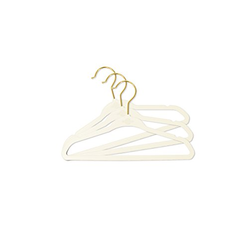 Closet Complete Baby Velvet Hangers, Premium Quality, True-Heavyweight, Virtually-UNBREAKABLE, Ultra-Thin, Space Saving No-Slip, Perfect Size for Babies 0-48 months 360° SPIN, Gold Hooks, Ivory 50pc