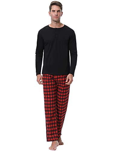 Aibrou Mens Cotton Striped Sleepwear Long Sleeve Top & Bottom Pajama Set (Red_Plaid, ()