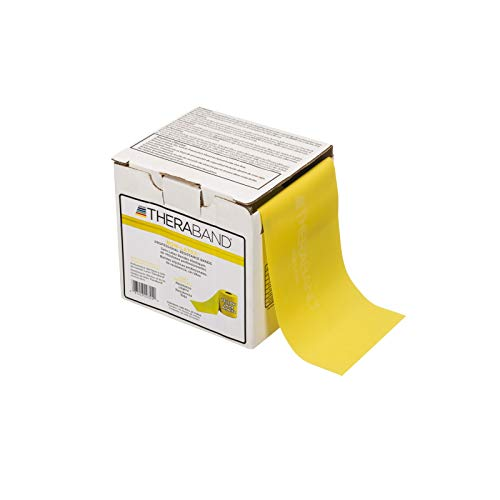 TheraBand Professional Non-Latex Resistance Bands For Upper and Lower Body Exercise Workouts, Physical Therapy, Lower Pilates, and Rehab, 25 Yard Roll Dispenser Box, Yellow, Thin, Beginner Level 2